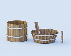 3D model set for sauna or bathroom three objects