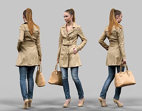 Girl walking in Raincoat 3D asset