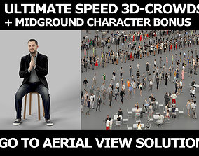 3d people crowds and Portrait midground casual sitting