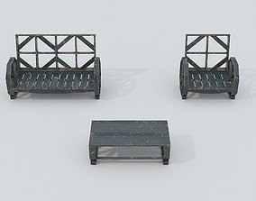 3D asset Wooden Bench and Table PBR