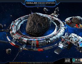 3D model low-poly MODULAR - Mining Station