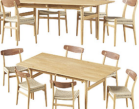 3D Carl Hansen Chair CH23 Dining Table CH327