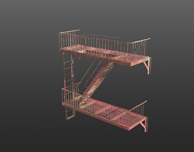 low-poly Fire Escape PBR 3d model - Game Ready