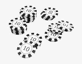3D model Stacks of casino chips 01