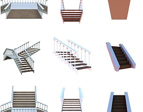 Wooden stairs package 3D asset