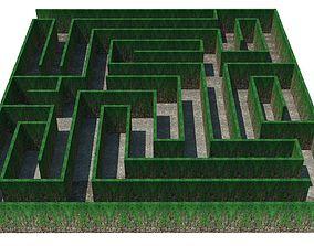 3D asset Maze - wall with creeper