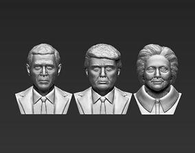 USA Politicians busts Trump Clinton Bush for 3D printing