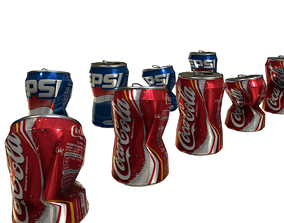 Busted soda cans Pepsi and Coca Cola 3D asset