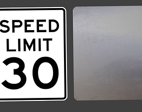 US Speed Limit and other Road Signs 3D
