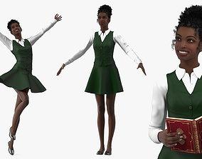 Black Teenage Schoolgirl Rigged 3D model