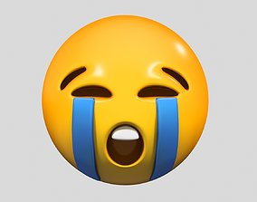 Emoji Loudly Crying Face emoji 3D model