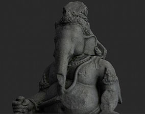 Low Poly PBR Ganesha Statue 3D asset