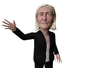 Marine Le Pen caricature 3D model