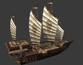 3D asset Ancient Chinese sailing warships Fukuyama Junk