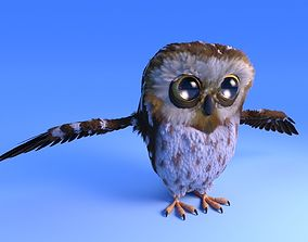 3D asset Owl with feather system - Cartoon style