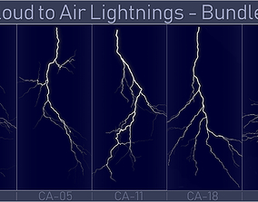 Realistic Lightnings Bundle 03 - 5 pack CA 3D