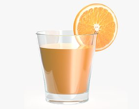 Orange juice in a glass and orange slice 3D model
