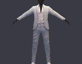 3D model avatar cost shirt pants white