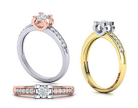 Classic Engagement ring 4mm round stone 4 prong 3dmodel