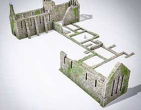 Grey Abbey - ruined church 3D asset game-ready
