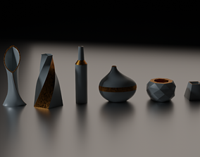 6 Pieces of Porcelain Pots and Vases 3D