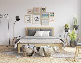 Scandinavian Bedroom 3D Model Vray Settings game-ready 2