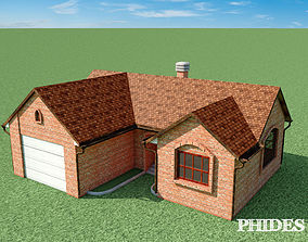 Low Poly House materials 3D asset low-poly