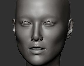 Asian female head 3D print model