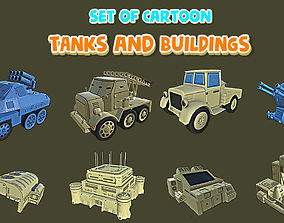 Set of Cartoon Tanks and Buildings 3D asset