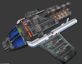 Sci-fi Space Cargo Bomber Ship 3D model low-poly