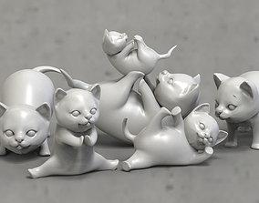 kitty 3D print model 3D asset cats Low-poly