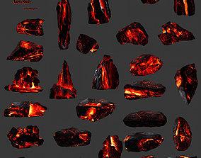 3D asset lava rocks set