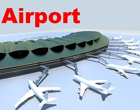 Airport With Huge Terminal 3D model
