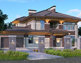 3D Wright-style apartment building with 2-car garage