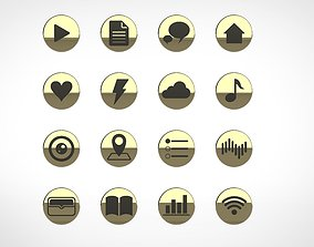 app variety of icons circle 3d rendering