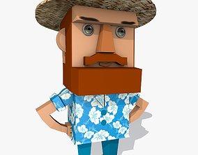 Cartoon Character with Blue Hawaiian Shirt 3D model
