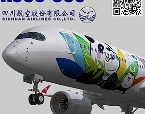 Airbus A350-900 XWB Sichuan Airlines livery 3D model