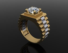 Signet Rolex Link Two Tone Ring Band 3D print model