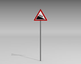 3D Steep road sign