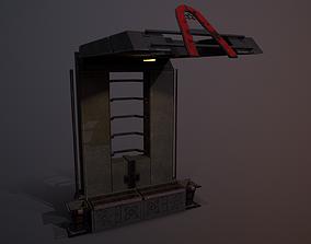 3D asset low-poly Futuristic Soviet Bus Stop