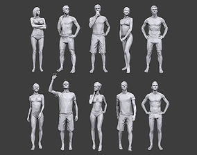 3D asset Lowpoly People Vacation Pack