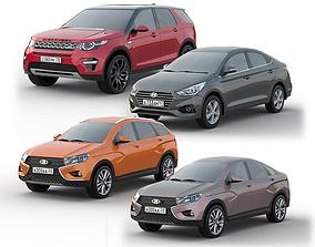 Set of cars for parking 3D model