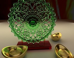 3D model Chinese gold ingot currency