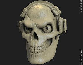 3D print model skull with headphone vol3 pendant