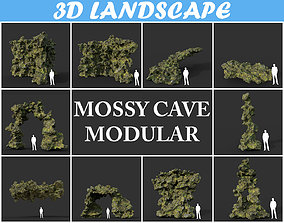 3D model Low poly Mossy Cave Modular Pack 200119