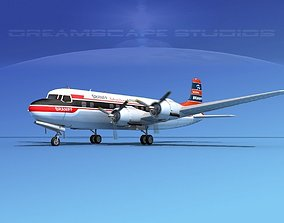 Douglas DC-6 Braniff International 3D model