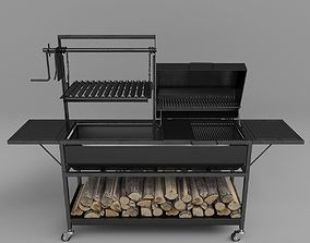 Grill with firewood 3D model