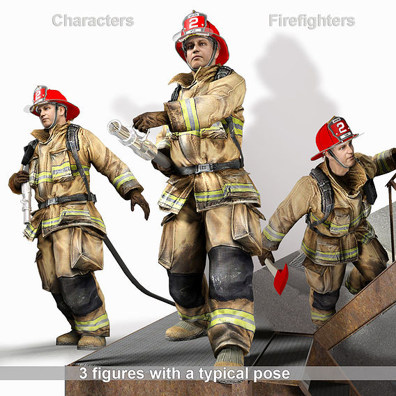 Firefighters with typical poses