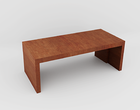 Wood Table scandinavian 3D model realtime