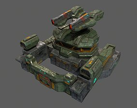 Low poly sci fi defence bunker building 3D model 1